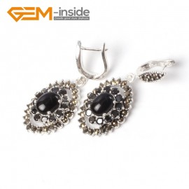 G5544 Black agate NEW 11x16mm oval beads tibetan silver dangle earring fashion jewelery for girls Ladies Birthstone Earrings Fashion Jewelry Jewellery
