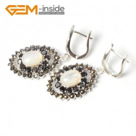 G5546 White shell NEW 11x16mm oval beads tibetan silver dangle earring fashion jewelery for girls Ladies Birthstone Earrings Fashion Jewelry Jewellery