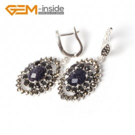 G5549 Blue goldstone NEW 11x16mm oval beads tibetan silver dangle earring fashion jewelery for girls Ladies Birthstone Earrings Fashion Jewelry Jewellery