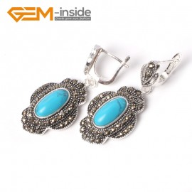 G5550 Blue turquoise cute 11x26mm oval beads tibetan silver dangle earring fashion Jewelry for women Ladies Birthstone Earrings Fashion Jewelry Jewellery