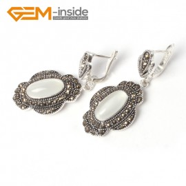 G5551 White cat eye 11x26mm oval beads tibetan silver dangle earring fashion Jewelry for women Ladies Birthstone Earrings Fashion Jewelry Jewellery