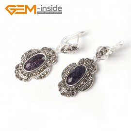G5552 Faceted blue goldstone cute 11x26mm oval beads tibetan silver dangle earring fashion Jewelry for women Ladies Birthstone Earrings Fashion Jewelry Jewellery