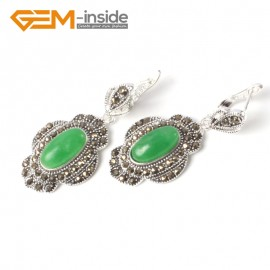 G5554 Green aventurine cute 11x26mm oval beads tibetan silver dangle earring fashion Jewelry for women Ladies Birthstone Earrings Fashion Jewelry Jewellery