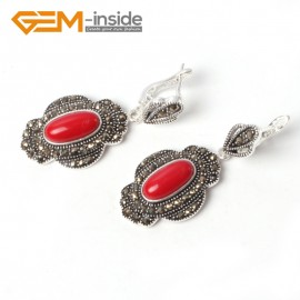 G5555 Red stone cute 11x26mm oval beads tibetan silver dangle earring fashion Jewelry for women Ladies Birthstone Earrings Fashion Jewelry Jewellery