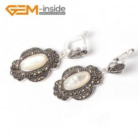 G5556 White shell cute 11x26mm oval beads tibetan silver dangle earring fashion Jewelry for women Ladies Birthstone Earrings Fashion Jewelry Jewellery