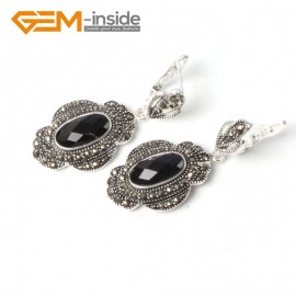 G5557 Faceted black agate cute 11x26mm oval beads tibetan silver dangle earring fashion Jewelry for women Ladies Birthstone Earrings Fashion Jewelry Jewellery