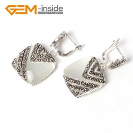 G5558 White cat eye pretty18mm square beads tibetan silver stud earrings fashion Jewelry for girls Ladies Birthstone Earrings Fashion Jewelry Jewellery