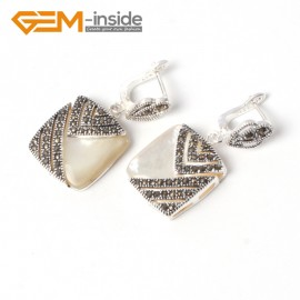 G5559 White shell pretty18mm square beads tibetan silver stud earrings fashion Jewelry for girls Ladies Birthstone Earrings Fashion Jewelry Jewellery