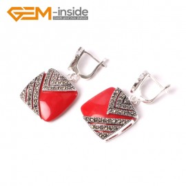 G5560 Red stone pretty18mm square beads tibetan silver stud earrings fashion Jewelry for girls Ladies Birthstone Earrings Fashion Jewelry Jewellery