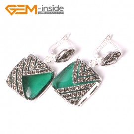G5562 Green crystal pretty18mm square beads tibetan silver stud earrings fashion Jewelry for girls Ladies Birthstone Earrings Fashion Jewelry Jewellery