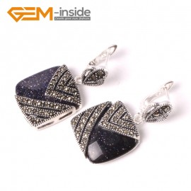 G5563 Blue goldstone pretty18mm square beads tibetan silver stud earrings fashion Jewelry for girls Ladies Birthstone Earrings Fashion Jewelry Jewellery
