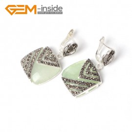 G5564 Green aventurine pretty18mm square beads tibetan silver stud earrings fashion Jewelry for girls Ladies Birthstone Earrings Fashion Jewelry Jewellery