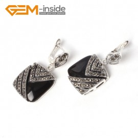 G5565 Black agate pretty18mm square beads tibetan silver stud earrings fashion Jewelry for girls Ladies Birthstone Earrings Fashion Jewelry Jewellery