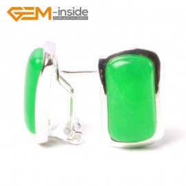 G5567 Green jade 14x22mm rectangle beads low silver stud earrings fashion jewelery  for girls Ladies Birthstone Earrings Fashion Jewelry Jewellery