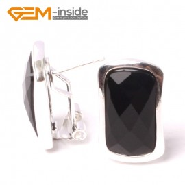 G5570 Faceted black agate 14x22mm rectangle beads low silver stud earrings fashion jewelery  for girls Ladies Birthstone Earrings Fashion Jewelry Jewellery