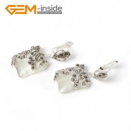 G5574 White cat eye 15mm Square Cute Beads Carved Tibetan Silver Dangle Earrings Fashion Jewelery Ladies Birthstone Earrings Fashion Jewelry Jewellery