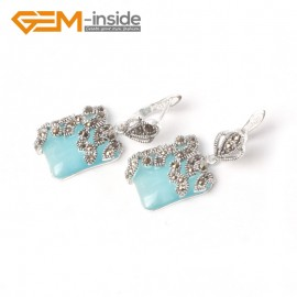 G5575 Blue cat eye 15mm Square Cute Beads Carved Tibetan Silver Dangle Earrings Fashion Jewelery Ladies Birthstone Earrings Fashion Jewelry Jewellery