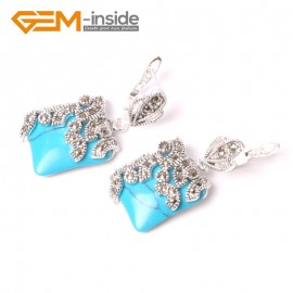 G5576 Blue turquoise 15mm Square Cute Beads Carved Tibetan Silver Dangle Earrings Fashion Jewelery Ladies Birthstone Earrings Fashion Jewelry Jewellery