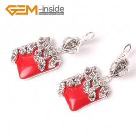 G5577 Red stone 15mm Square Cute Beads Carved Tibetan Silver Dangle Earrings Fashion Jewelery Ladies Birthstone Earrings Fashion Jewelry Jewellery