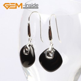 G5580 Black agate 19mm diagonal square beads low silver dangle earrings fashion jewelery for girls Ladies Birthstone Earrings Fashion Jewelry Jewellery
