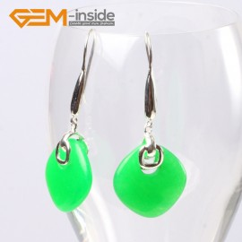 G5582 Green jade 19mm diagonal square beads low silver dangle earrings fashion jewelery for girls Ladies Birthstone Earrings Fashion Jewelry Jewellery