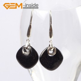 G5583 Blue goldstone 19mm diagonal square beads low silver dangle earrings fashion jewelery for girls Ladies Birthstone Earrings Fashion Jewelry Jewellery