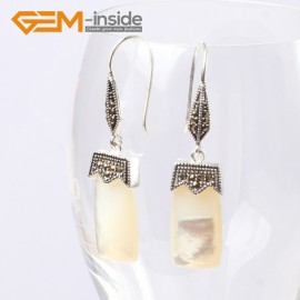 G5586 White shell 11x22mm rectangle beads tibetan silver dangle earrings fashion jewelery for girl Ladies Birthstone Earrings Fashion Jewelry Jewellery