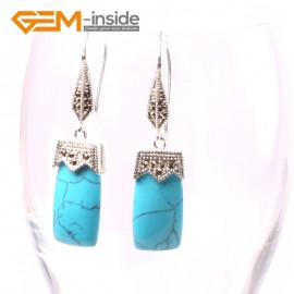 G5588 Blue turquoise 11x22mm rectangle beads tibetan silver dangle earrings fashion jewelery for girl Ladies Birthstone Earrings Fashion Jewelry Jewellery