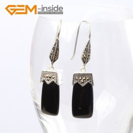 G5589 Black agate 11x22mm rectangle beads tibetan silver dangle earrings fashion jewelery for girl Ladies Birthstone Earrings Fashion Jewelry Jewellery