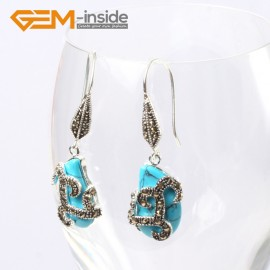 G5591 Blue turquoise 12x18mm beads carved tibetan silver dangle earrings fashion jewelery for women Ladies Birthstone Earrings Fashion Jewelry Jewellery