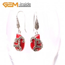 G5594 Red stone 12x18mm beads carved tibetan silver dangle earrings fashion jewelery for women Ladies Birthstone Earrings Fashion Jewelry Jewellery