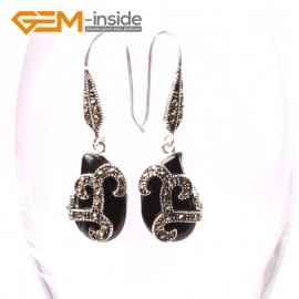 G5595 Black agate 12x18mm beads carved tibetan silver dangle earrings fashion jewelery for women Ladies Birthstone Earrings Fashion Jewelry Jewellery