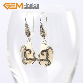 G5596 White shell 12x18mm beads carved tibetan silver dangle earrings fashion jewelery for women Ladies Birthstone Earrings Fashion Jewelry Jewellery