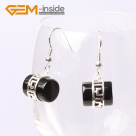 G5610 Black agate Fashion 12x14mm column carved tibetan silver dangle earrings for chritmas gift Ladies Birthstone Earrings Fashion Jewelry Jewellery