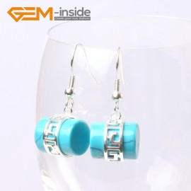 G5611 Dyed blue turquoise Fashion 12x14mm column carved tibetan silver dangle earrings for chritmas gift Ladies Birthstone Earrings Fashion Jewelry Jewellery