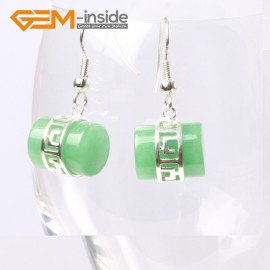 G5614 Dyed green jade Fashion 12x14mm column carved tibetan silver dangle earrings for chritmas gift Ladies Birthstone Earrings Fashion Jewelry Jewellery