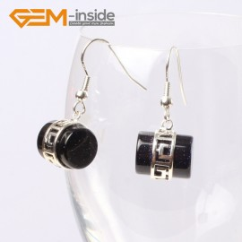 G5615 Blue sandstone Fashion 12x14mm column carved tibetan silver dangle earrings for chritmas gift Ladies Birthstone Earrings Fashion Jewelry Jewellery