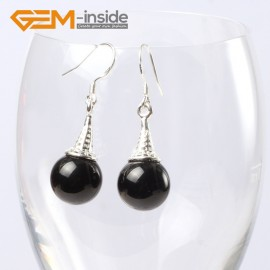 G5616 Black agate Fashion 10mm round ball beads tibetan silver dangle earrings for chritmas gift Ladies Birthstone Earrings Fashion Jewelry Jewellery