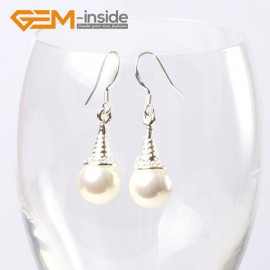 G5617 White pearl Fashion 10mm round ball beads tibetan silver dangle earrings for chritmas gift Ladies Birthstone Earrings Fashion Jewelry Jewellery