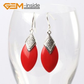 G5623 Man-made red coral Fashion 14x28mm oval beads tibetan silver dangle earrings for chritmas gift Ladies Birthstone Earrings Fashion Jewelry Jewellery