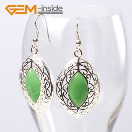 G5628 Dyed green jade Fashion 24x38mm marquise beads tibetan silver dangle earrings for chritmas gift Ladies Birthstone Earrings Fashion Jewelry Jewellery