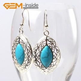 G5629 Dyed blue turquoise Fashion 24x38mm marquise beads tibetan silver dangle earrings for chritmas gift Ladies Birthstone Earrings Fashion Jewelry Jewellery