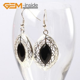 G56330 Black agate Fashion 24x38mm marquise beads tibetan silver dangle earrings for chritmas gift Ladies Birthstone Earrings Fashion Jewelry Jewellery