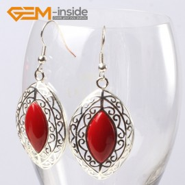 G5631 Man-made red coral Fashion 24x38mm marquise beads tibetan silver dangle earrings for chritmas gift Ladies Birthstone Earrings Fashion Jewelry Jewellery