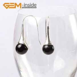 G5634 Black agate Fashion 10mm round ball beads tibetan silver dangle earring for chritmas gift Ladies Birthstone Earrings Fashion Jewelry Jewellery