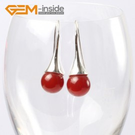 G5638 Dyed red jade Fashion 10mm round ball beads tibetan silver dangle earring for chritmas gift Ladies Birthstone Earrings Fashion Jewelry Jewellery
