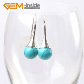 G5640 Dyed blue turquoise Fashion 10mm round ball beads tibetan silver dangle earring for chritmas gift Ladies Birthstone Earrings Fashion Jewelry Jewellery