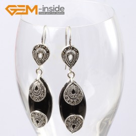 G5644 Black agate Fashion 14x32mm Marquise beads tibetan silver dangle earrings for chritmas gift Ladies Birthstone Earrings Fashion Jewelry Jewellery