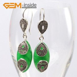 G5647 Dyed green jade Fashion 14x32mm Marquise beads tibetan silver dangle earrings for chritmas gift Ladies Birthstone Earrings Fashion Jewelry Jewellery