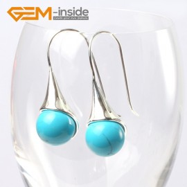 G5652 Dyed blue turquoise Fashion 12mm round ball beads tibetan silver dangle earring for chritmas gift Ladies Birthstone Earrings Fashion Jewelry Jewellery